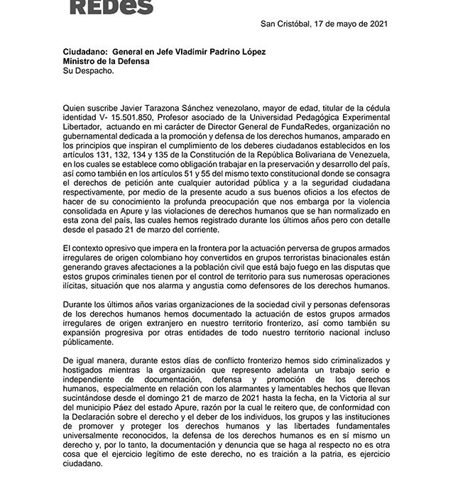 Comunicación a Vladimir Padrino López, Ministro de la Defensa de Venezuela